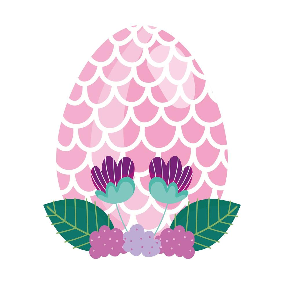 uovo di Pasqua felice decorato con fiori a forma di squame di pesce vettore