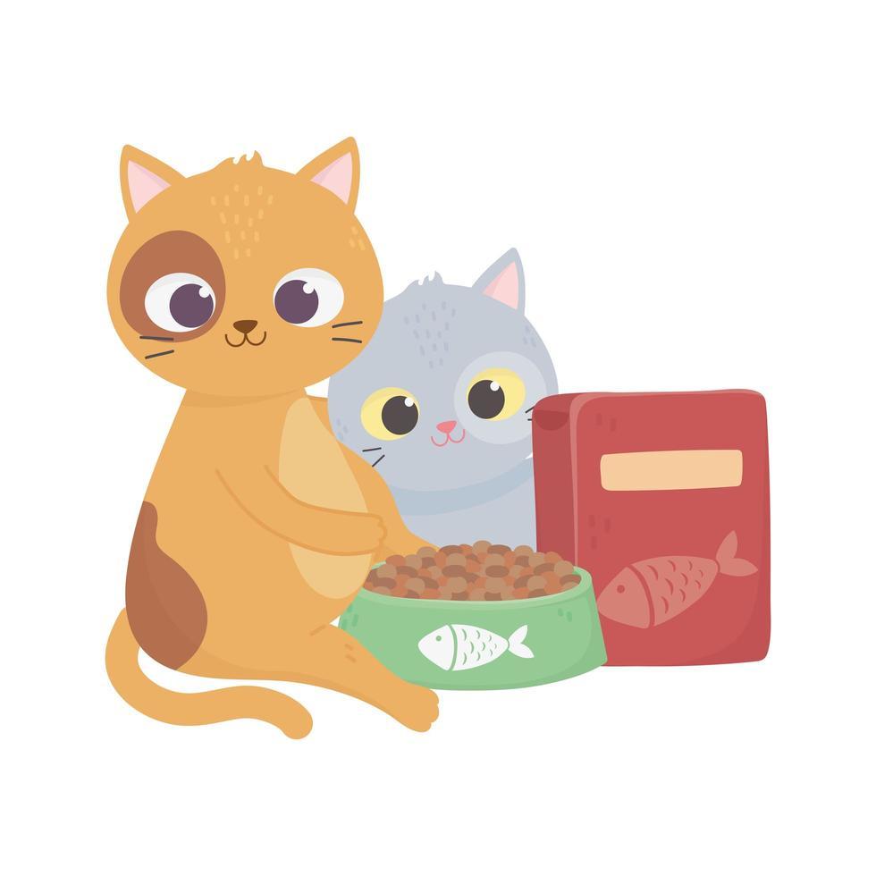 i gatti mi rendono felice, simpatici gattini con ciotola e scatola di cibo per animali domestici vettore