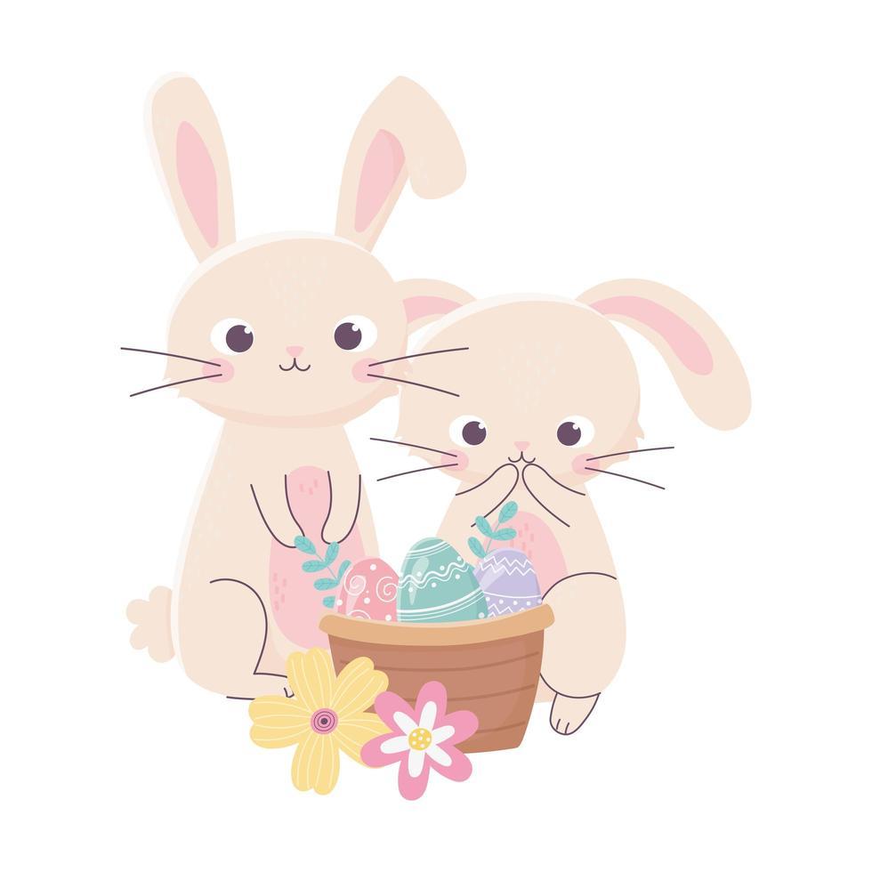 felice giorno di pasqua, conigli carino uova nel cestino fiori natura vettore