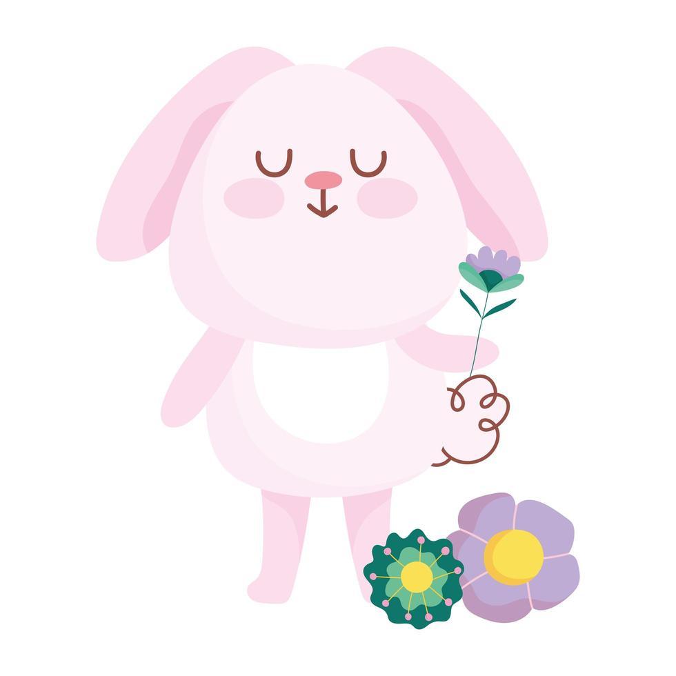 buona Pasqua coniglio rosa con fiori decorazione cartone animato vettore