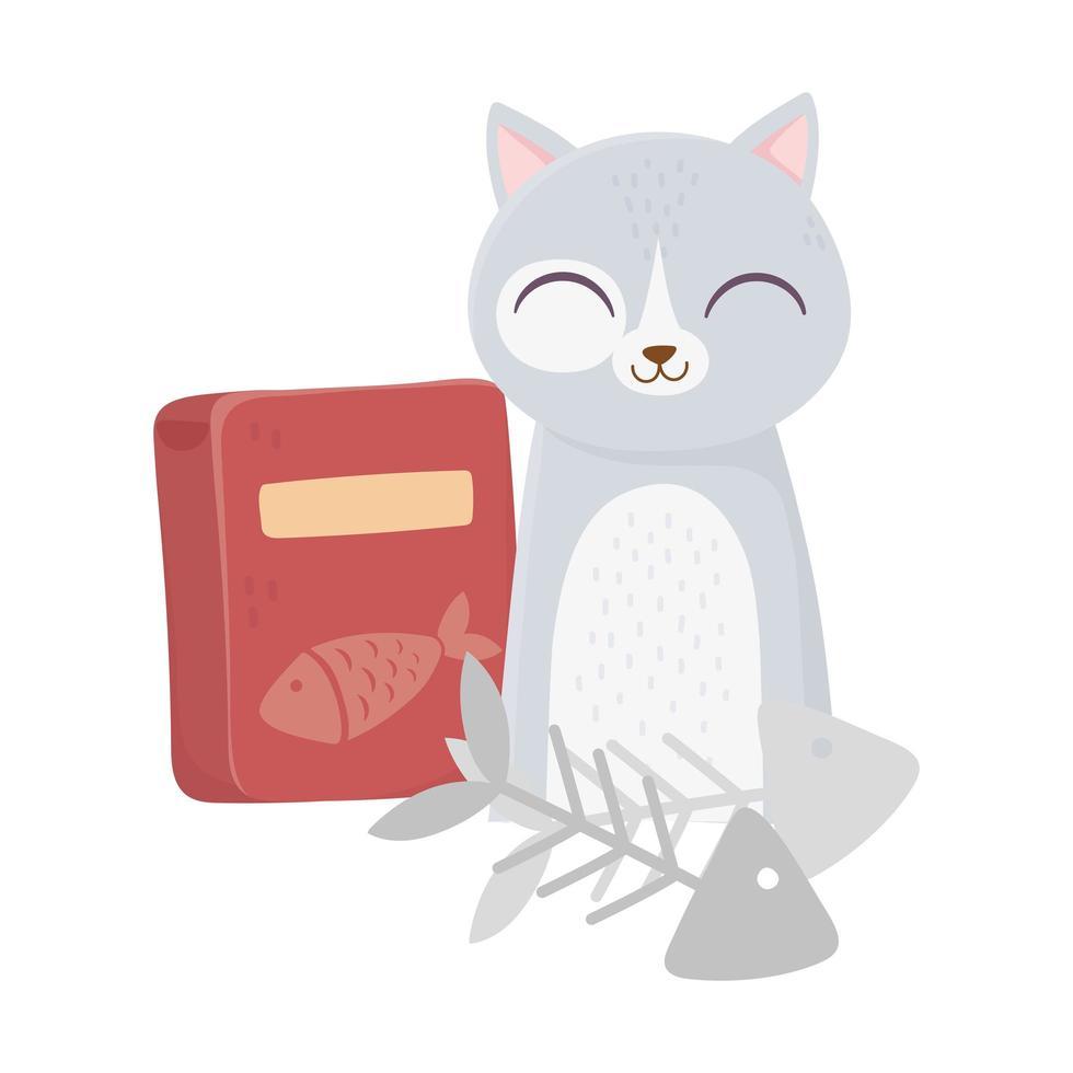 i gatti mi rendono felice, simpatico gatto con lische di pesce e cartone animato scatola di cibo vettore