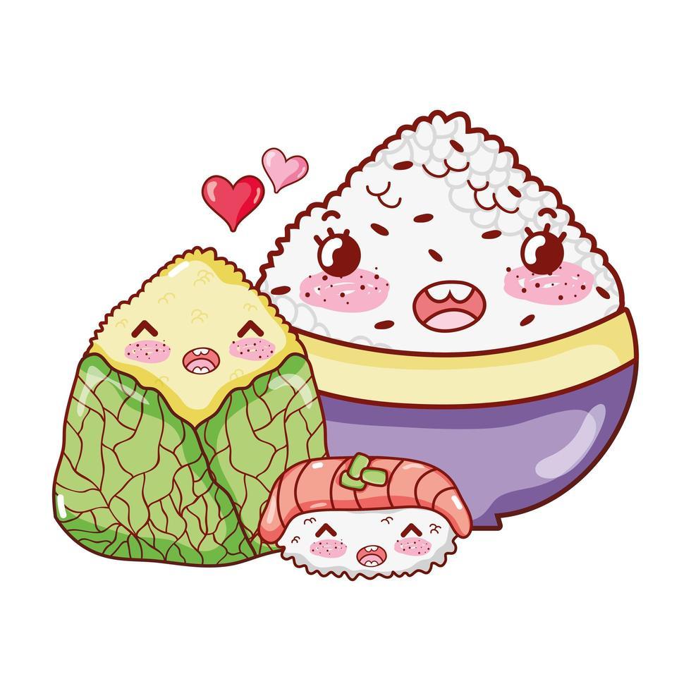 sushi di riso kawaii e cibo avvolto cartone animato giapponese, sushi e panini vettore