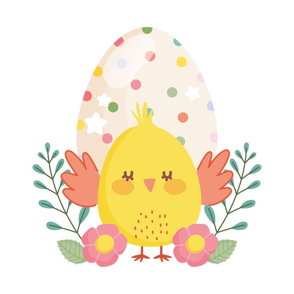 felice pasqua piccolo pollo uovo punteggiato fiori decorazione cartone animato vettore