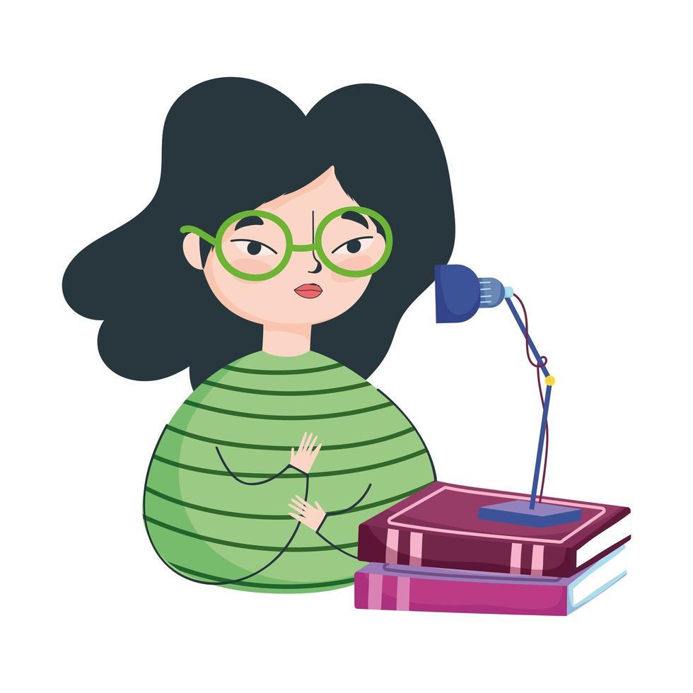giovane donna con pila di libri e lampada, giornata del libro vettore