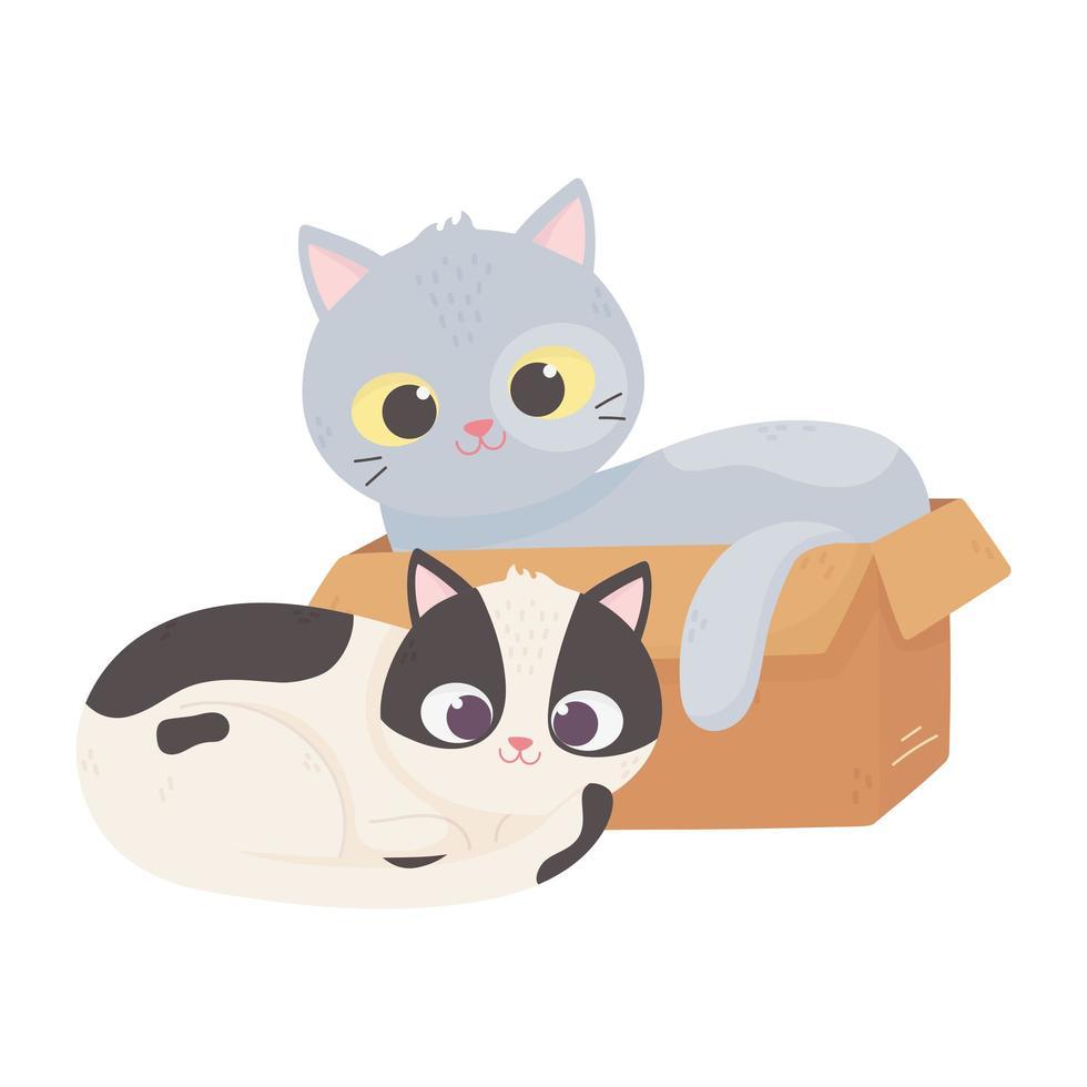 i gatti mi rendono felice, il gatto in scatola e altri cartoni animati seduti vettore