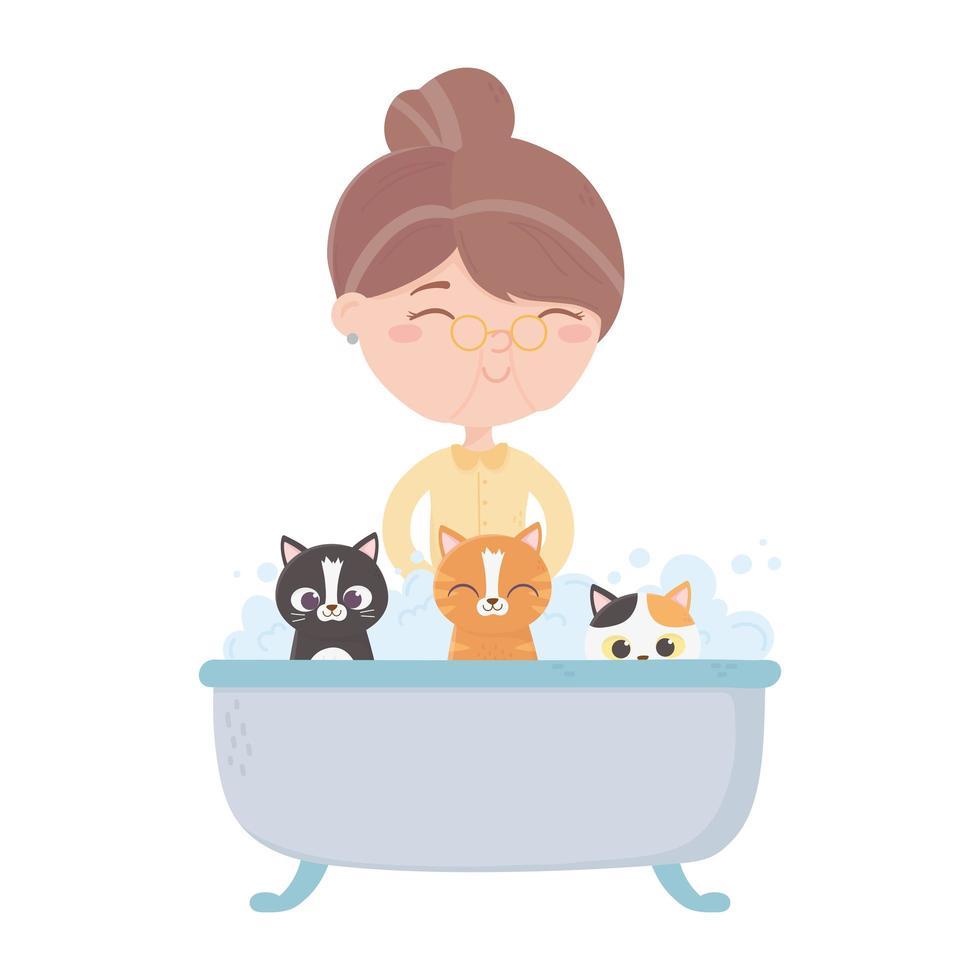 i gatti mi rendono felice, vecchia donna gatto e gattino nella vasca da bagno vettore