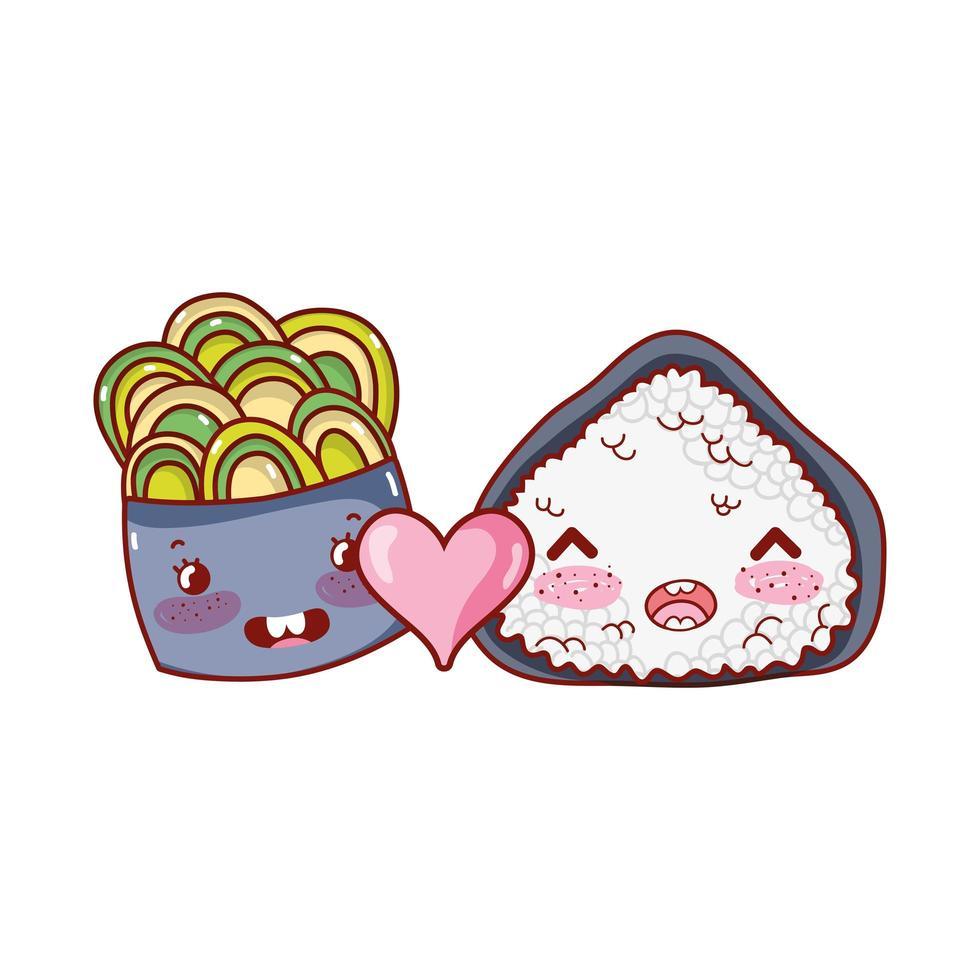 rotolo di riso e insalata kawaii adorano il cibo cartone animato giapponese, sushi e panini vettore