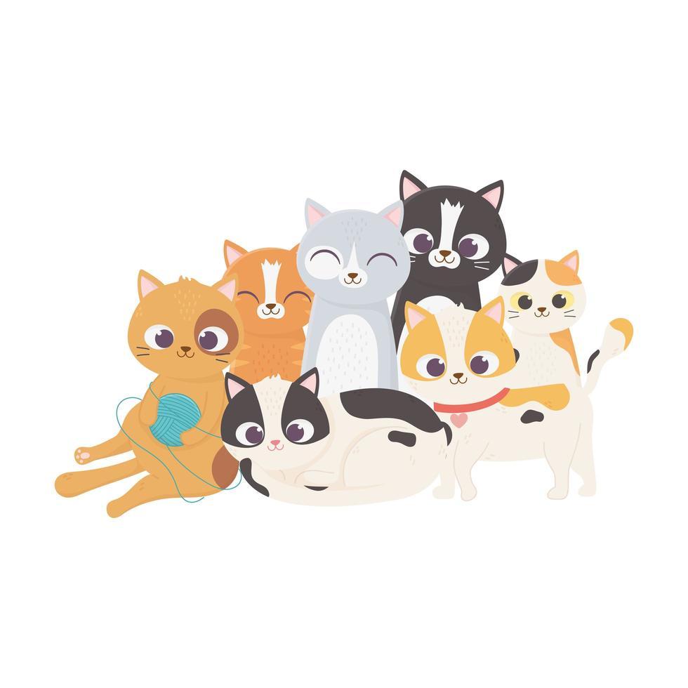 gatto con palla di lana e gattini mascotte felino domestico vettore