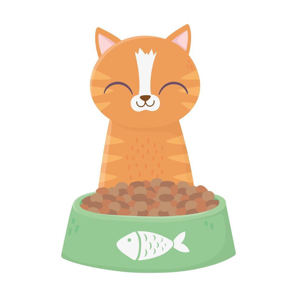 gatto seduto con ciotola di cibo cartone animato vettore