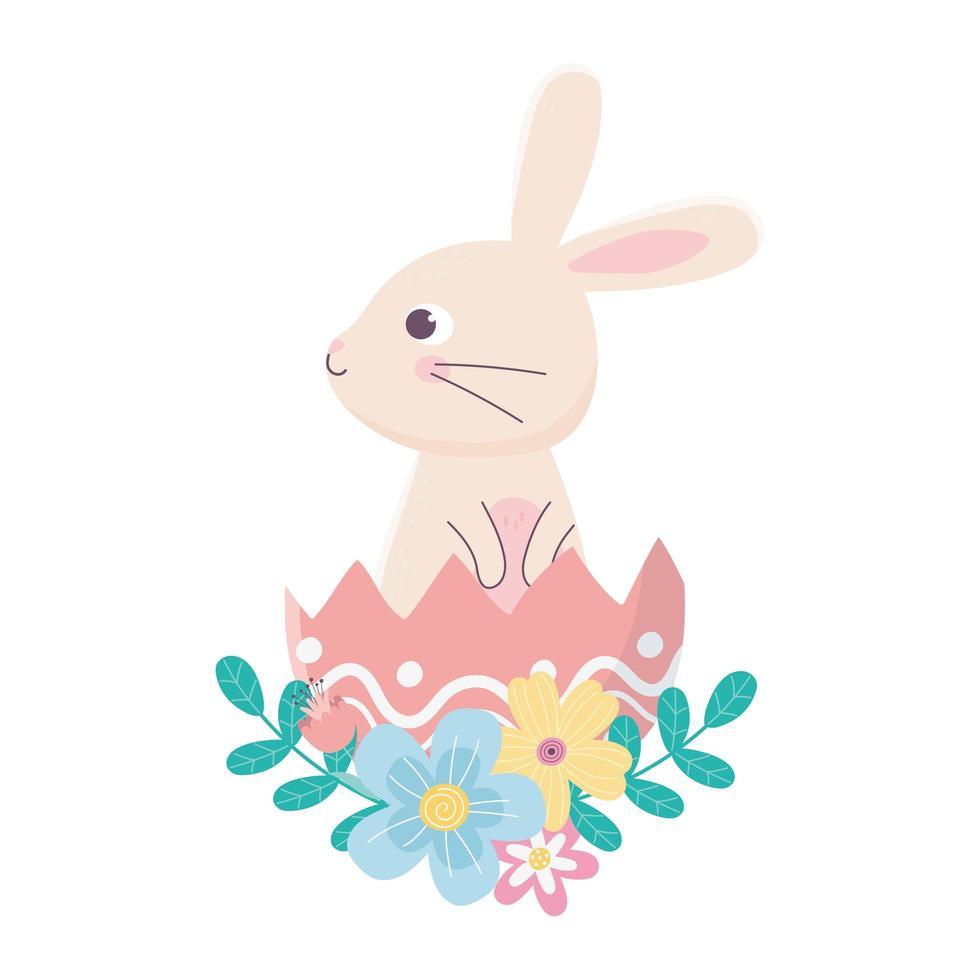 felice giorno di pasqua, simpatico coniglio nella decorazione di fiori di guscio d'uovo vettore
