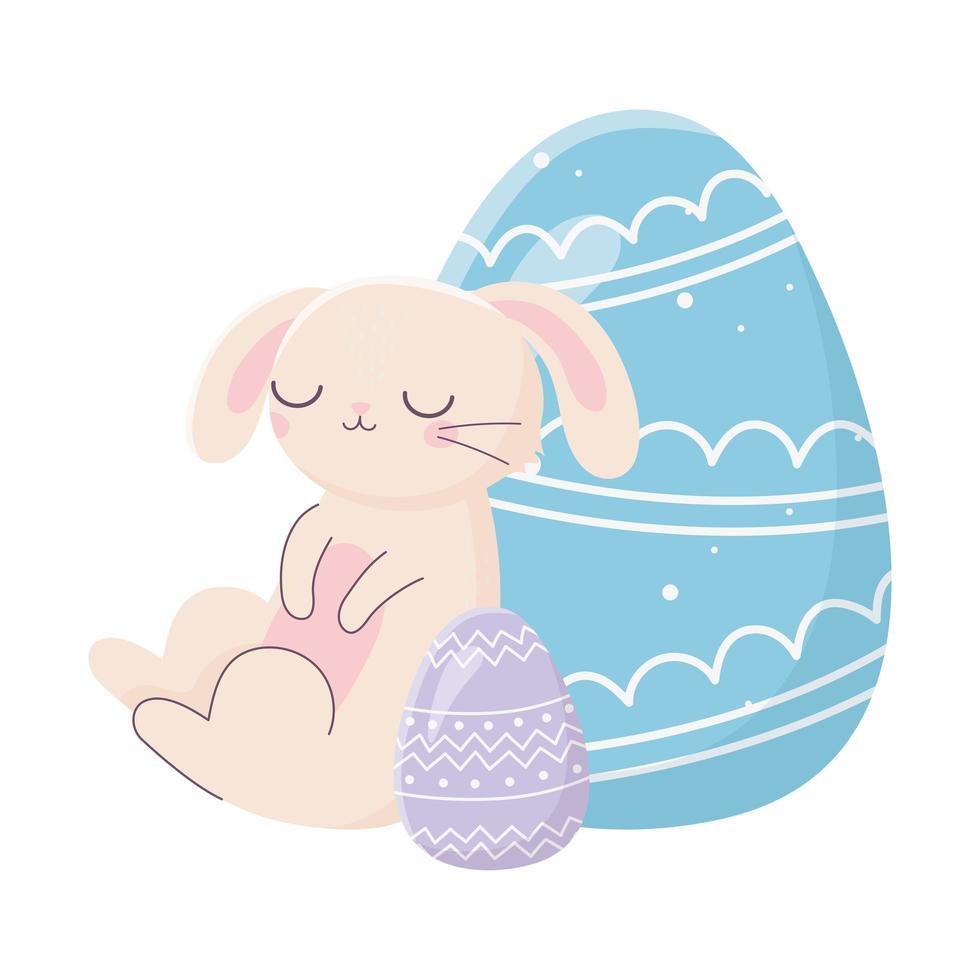 felice giorno di pasqua, coniglio rosa decorativo blu e viola uova cartoon vettore
