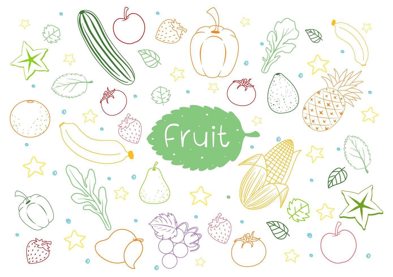 set di frutta diversa doodle isolati su sfondo bianco vettore