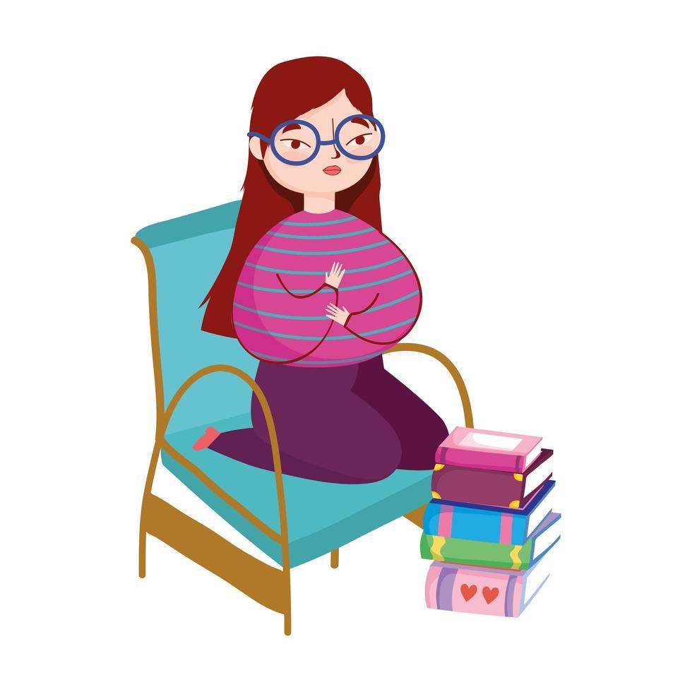 giovane donna che indossa occhiali con libri impilati nel pavimento, giornata del libro vettore