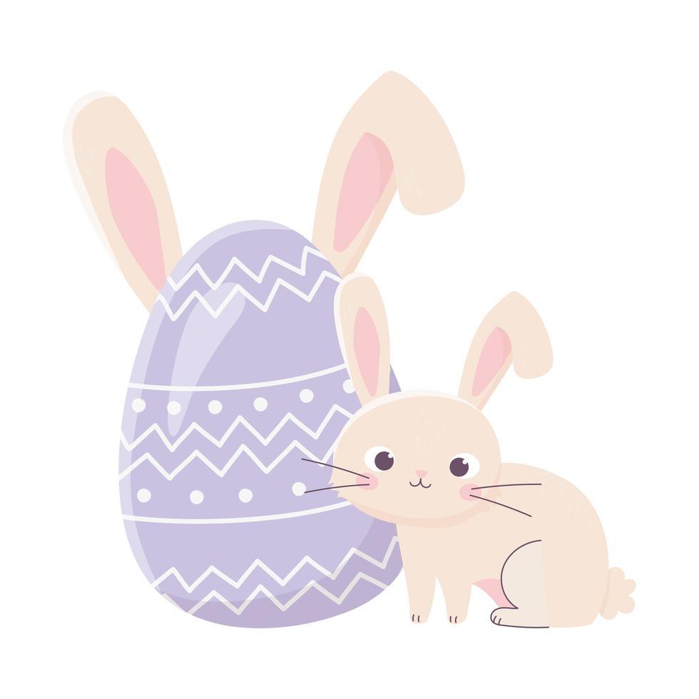 felice giorno di pasqua, simpatico coniglio e uovo con decorazione di orecchie vettore