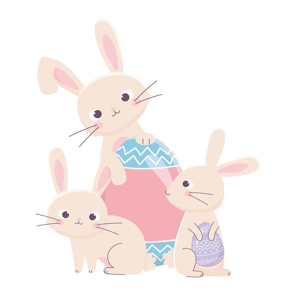 coniglietti felice giorno di pasqua con grande carta decorativa uovo vettore