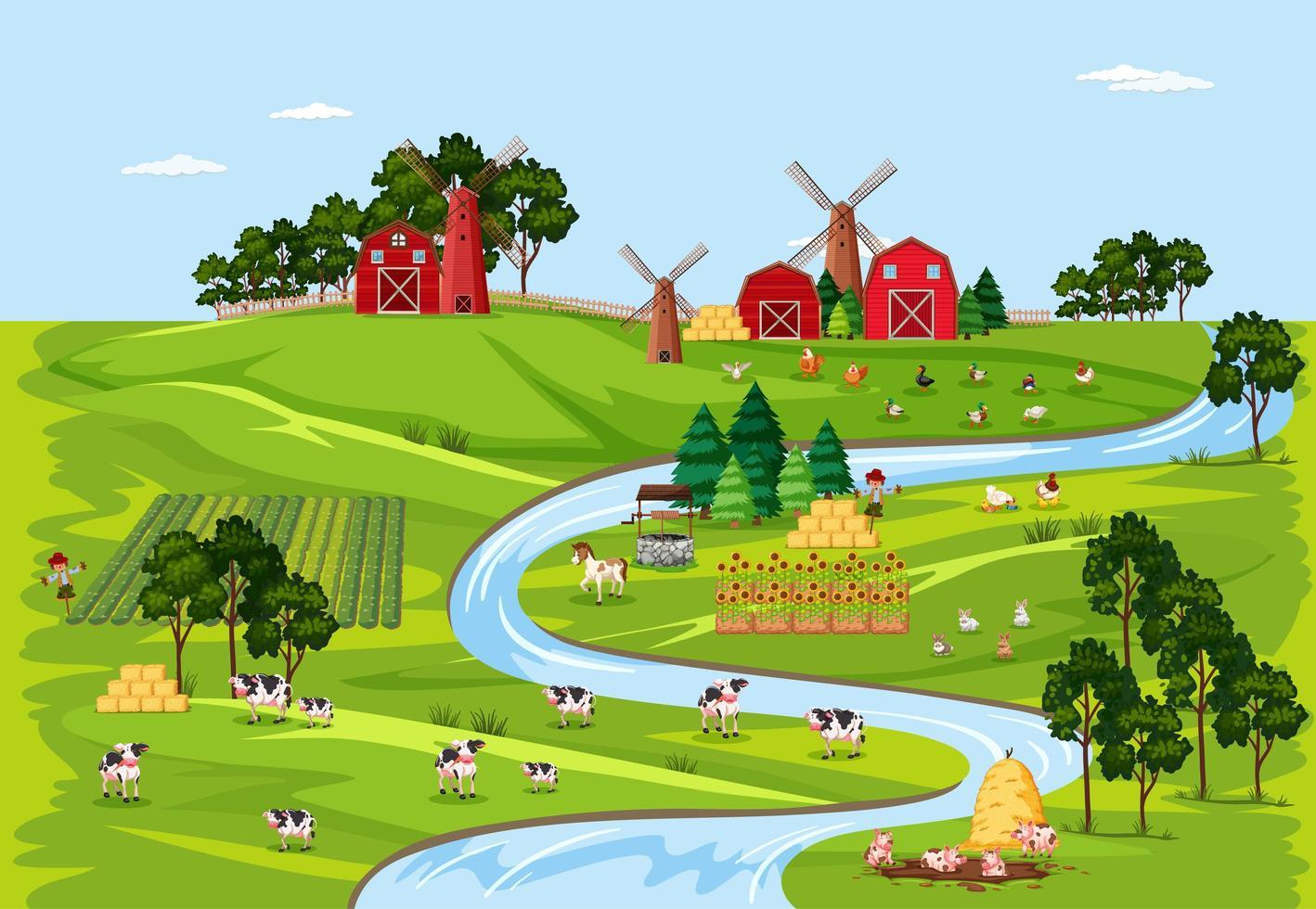 natura fattoria con scena di paesaggio di fienili vettore