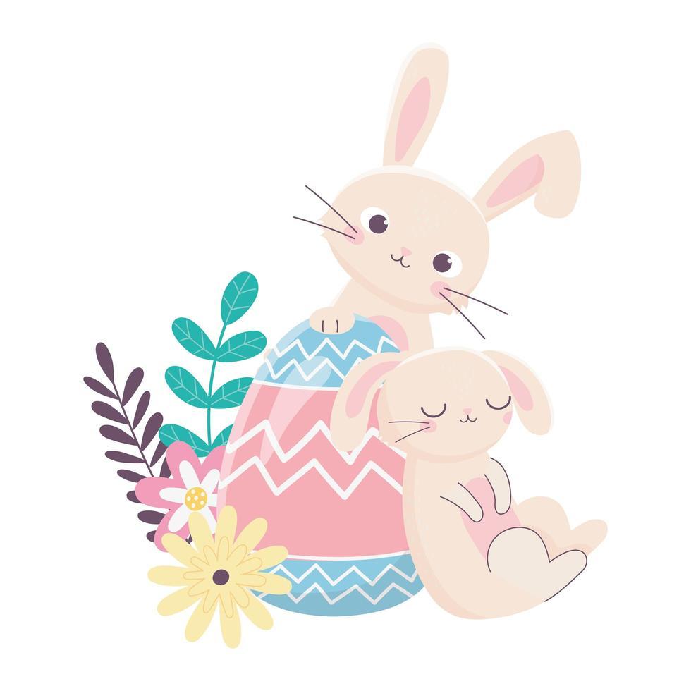 felice giorno di pasqua, coniglio addormentato e coniglio con decorazione di fiori d'uovo vettore