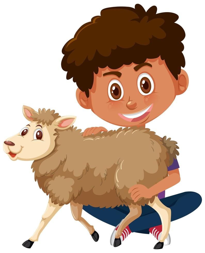 ragazzo che tiene simpatico personaggio dei cartoni animati animale isolato su sfondo bianco vettore