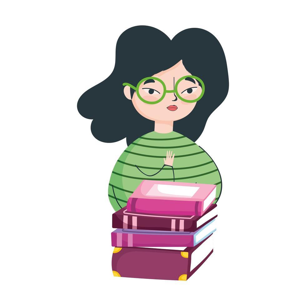 giovane donna con gli occhiali e libri impilati, il giorno del libro vettore
