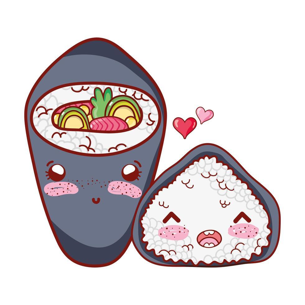 Temaki kawaii e rotolo di riso amano il cibo cartone animato giapponese, sushi e panini vettore