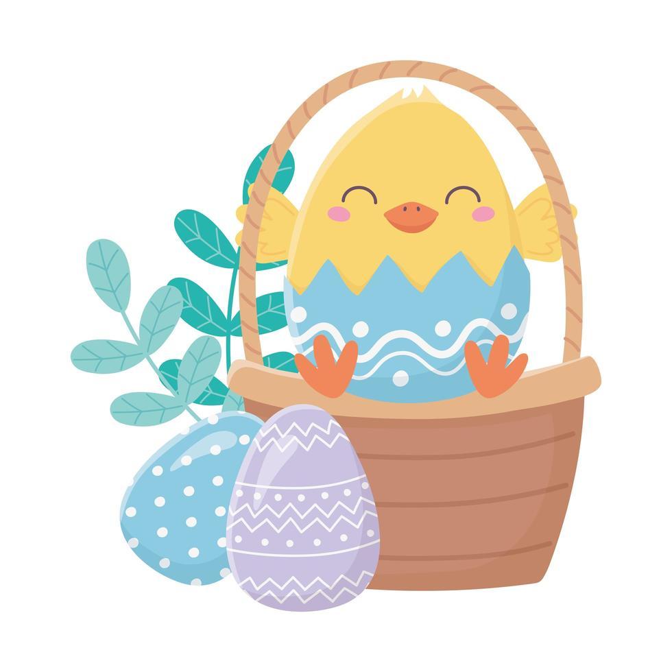 felice giorno di pasqua, pollo nella decorazione delle uova del cestino del guscio d'uovo vettore