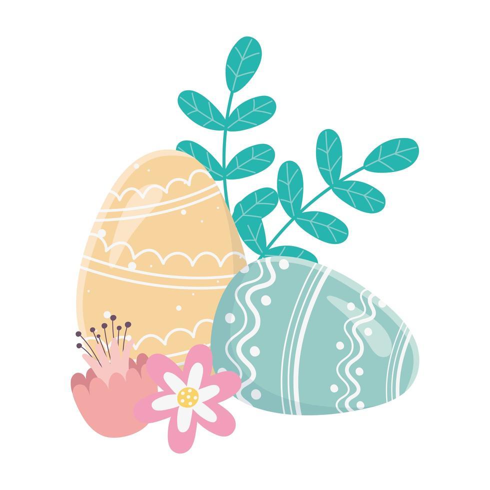 felice giorno di pasqua, uova dipinte ornamento fiori fogliame decoraiton vettore