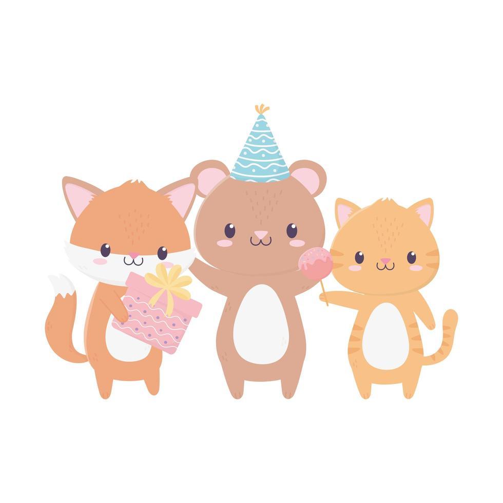 buon compleanno animali con decorazione di celebrazione di caramelle regalo cappello da festa vettore