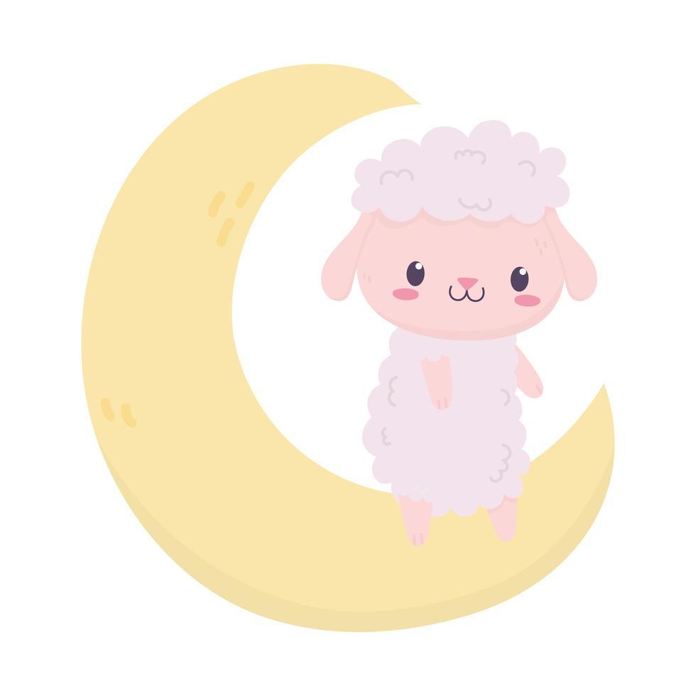 baby shower carino pecore sul fumetto della decorazione della luna vettore