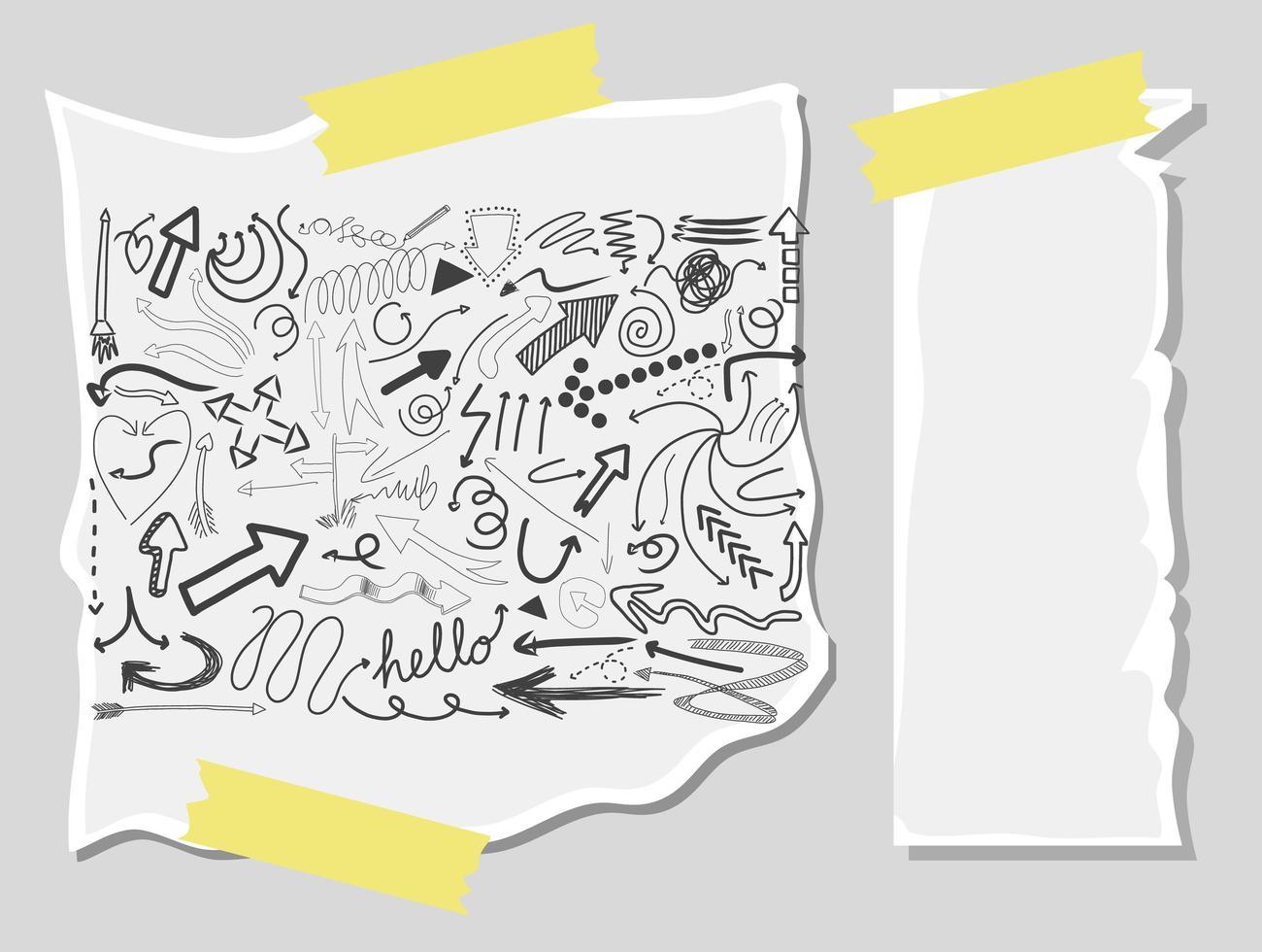 diversi tratti di doodle su una carta con carta bianca vettore