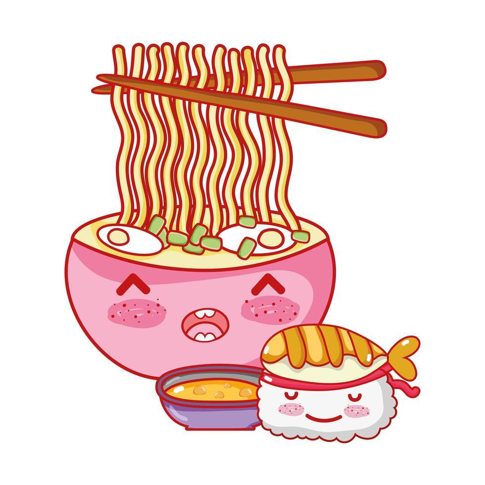 zuppa di ramen sushi kawaii e cibo cartone animato giapponese, sushi e panini vettore