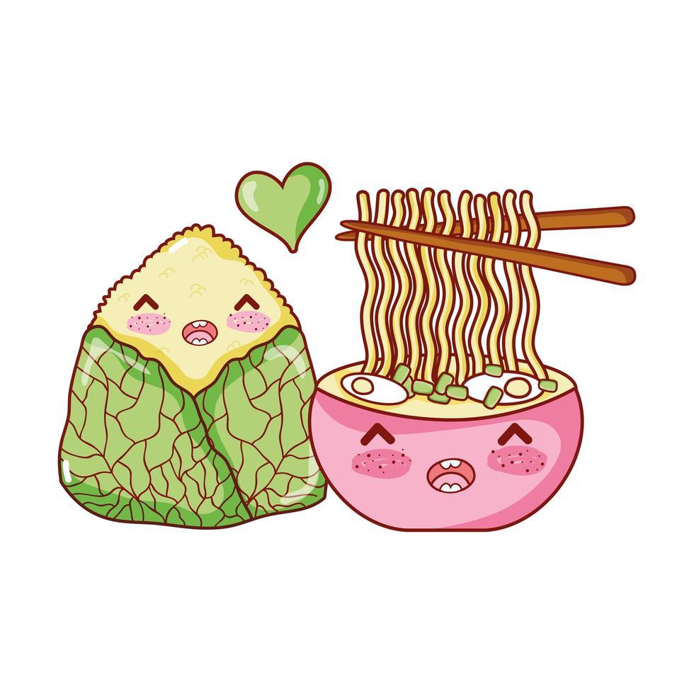 zuppa di ramen kawaii e cibo a base di riso cartone animato giapponese, sushi e panini vettore