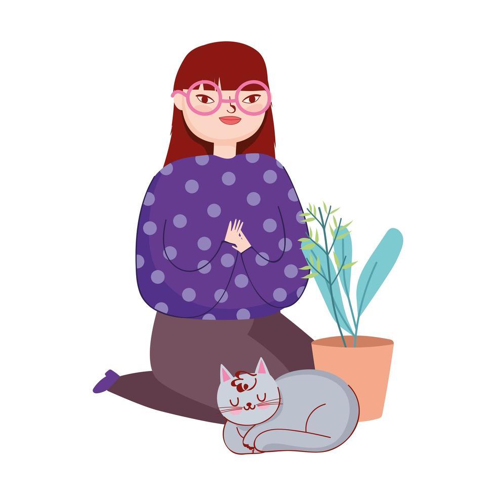giovane donna con gatto e pianta in vaso vettore