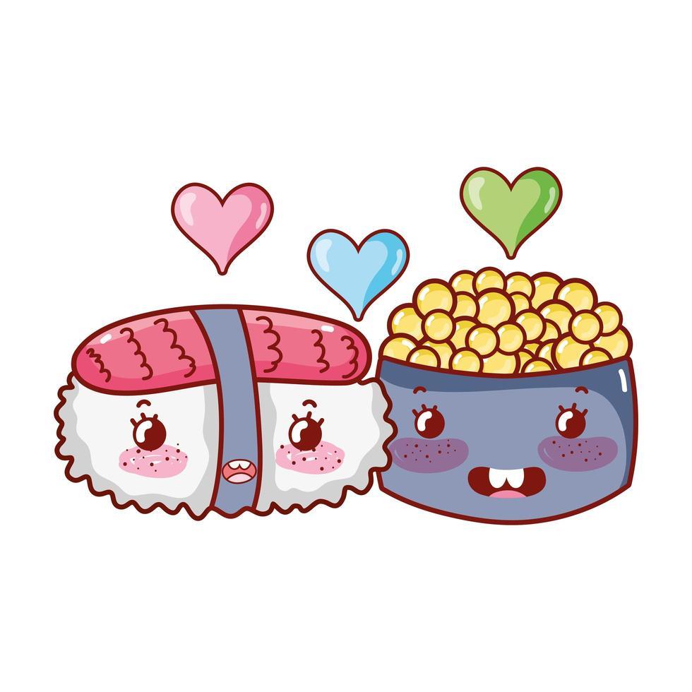 sushi kawaii e caviale amano il cibo cartone animato giapponese, sushi e panini vettore
