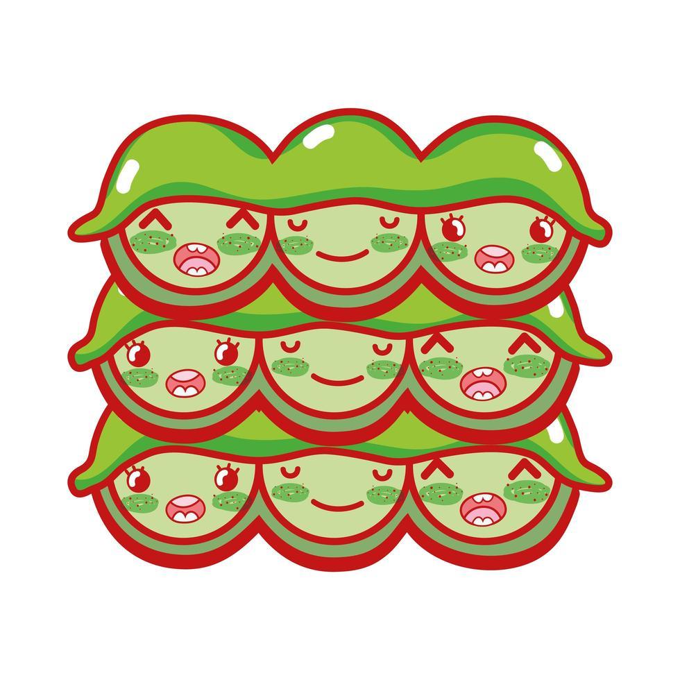 kawaii di piselli cibo giapponese cartone animato, sushi e panini vettore