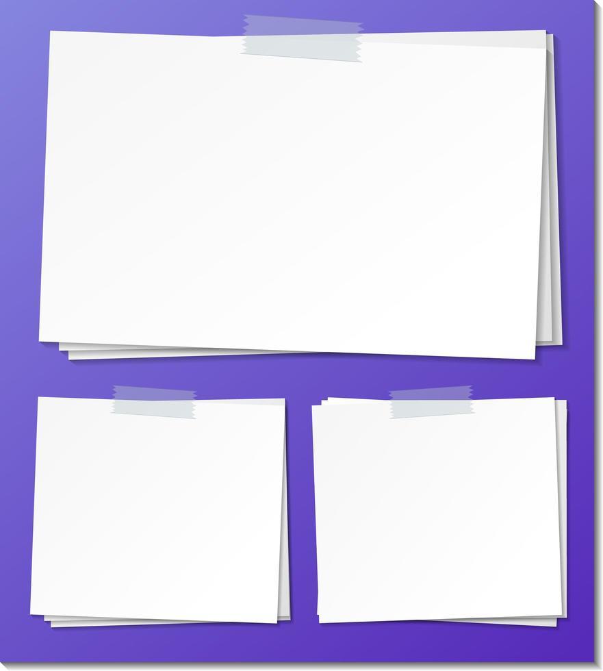 set di modello di carta vuota nota adesiva vettore