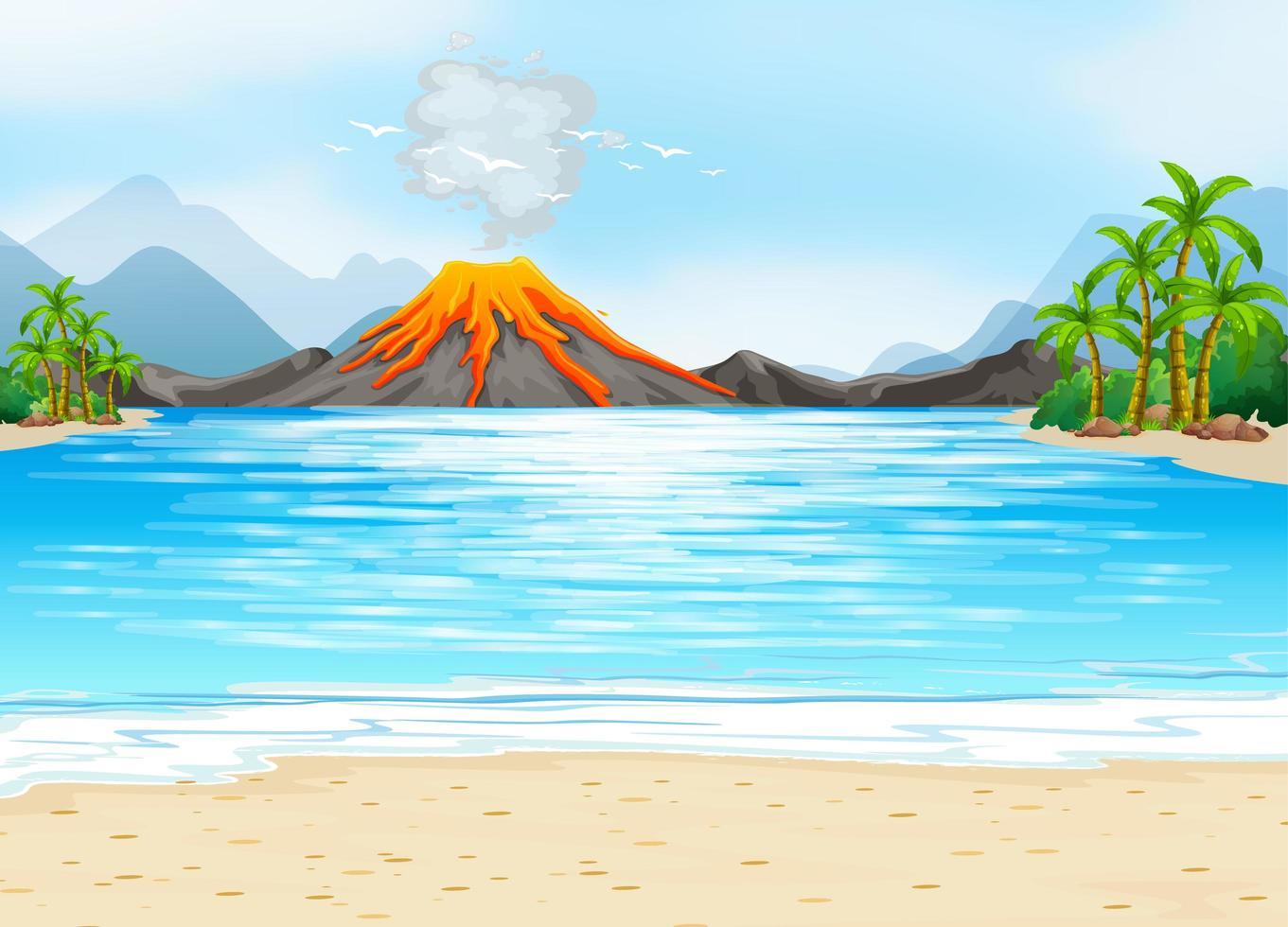sfondo scena all'aperto eruzione vulcanica vettore