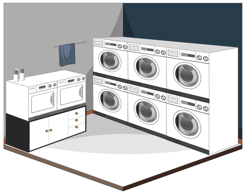 interno della lavanderia con mobili vettore