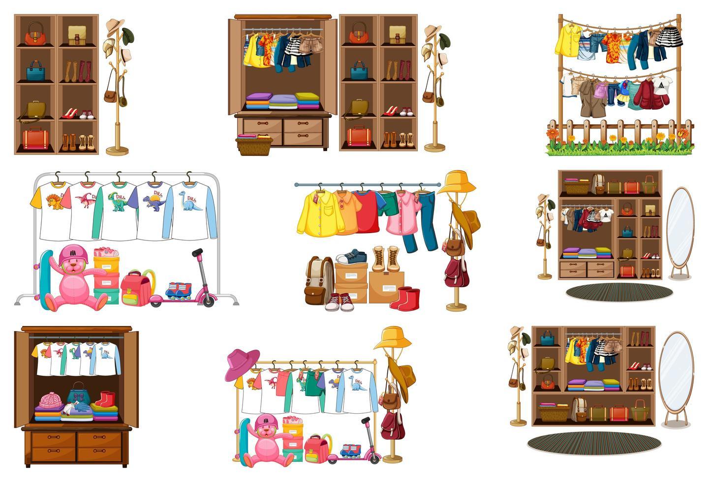 set di vestiti, accessori e guardaroba isolato su priorità bassa bianca vettore