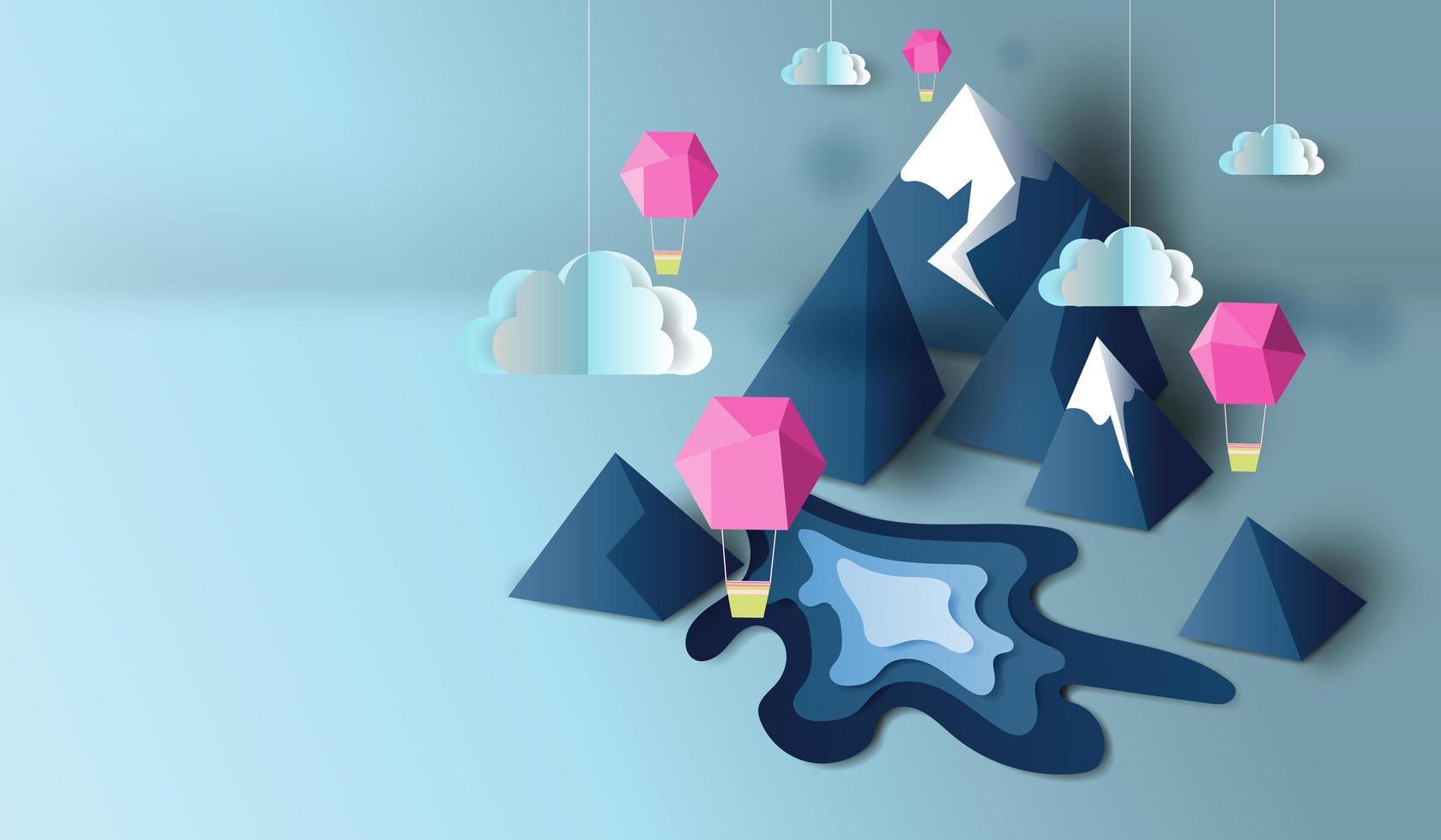 carta tagliata arte con vista sulle montagne 3d e sfondo banner palloncini vettore