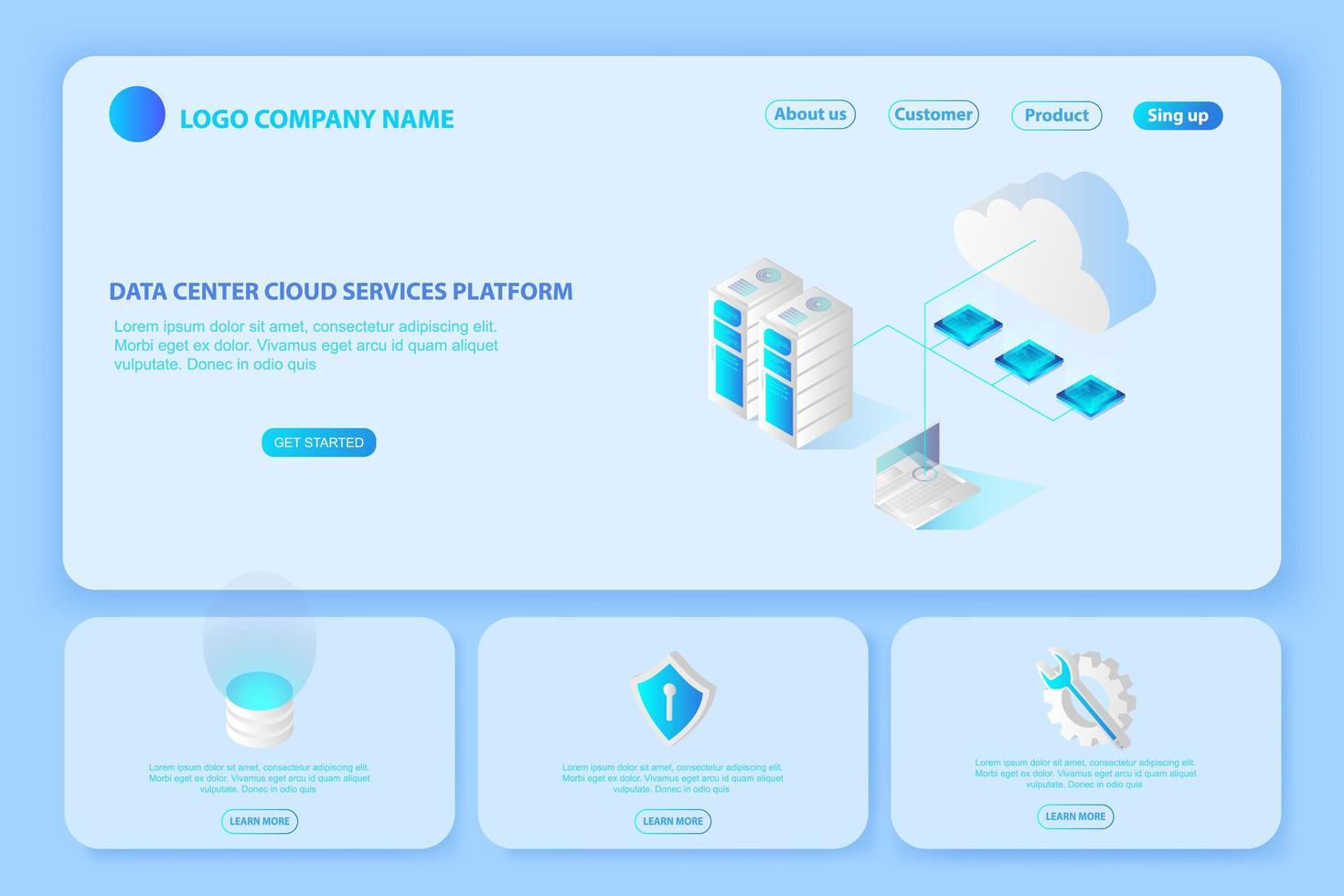 intestazione per il sito Web del data center della piattaforma e il banner dei servizi cloud vettore