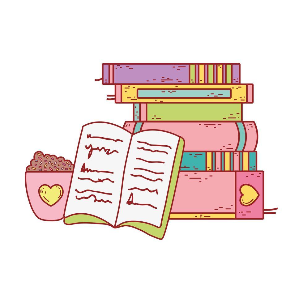 tazza di cioccolato con codette e letteratura libri impilati vettore