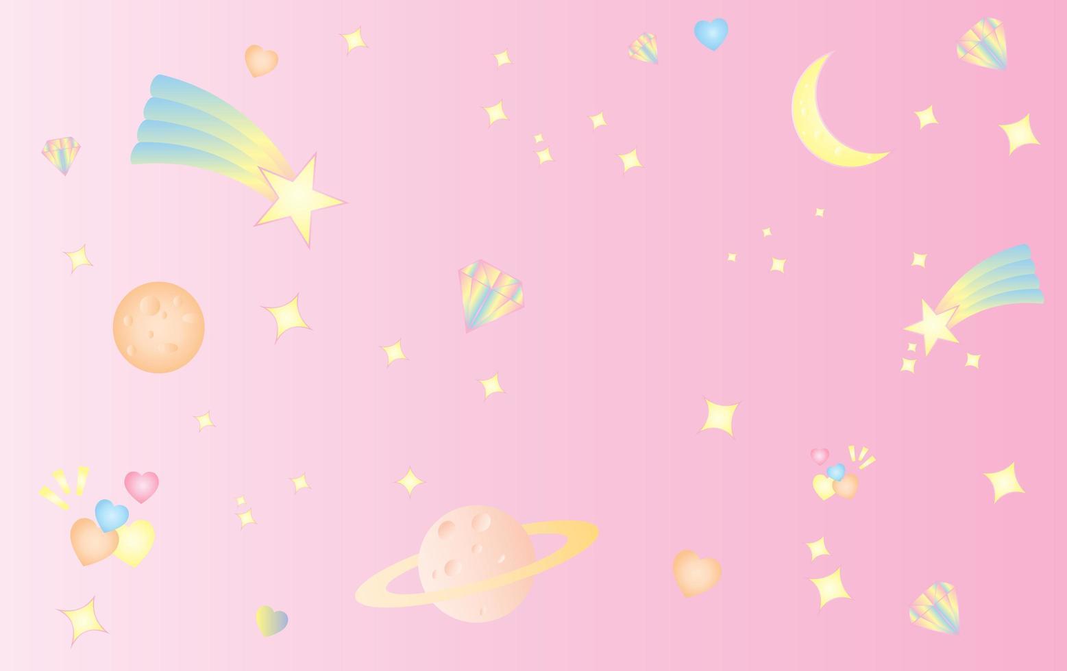 spazio e cosmo dolce carino sfondo rosa pastello vettore