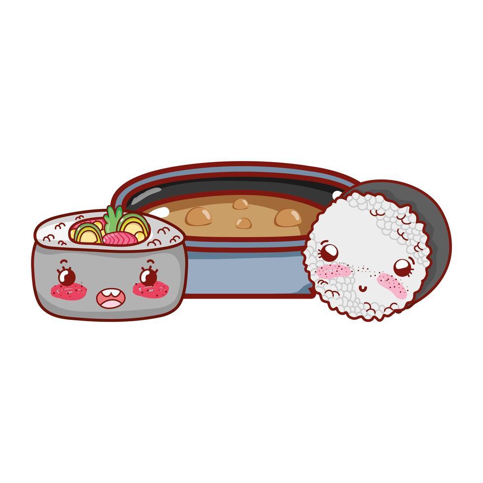 zuppa di ramen kawaii e involtini di riso cibo cartone animato giapponese, sushi e panini vettore