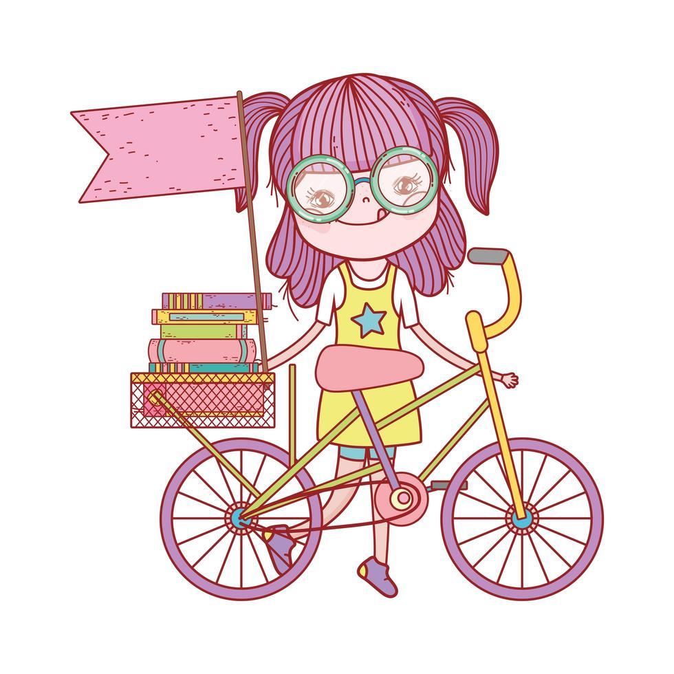 ragazza carina con libri in bici con bandiera cartoon vettore