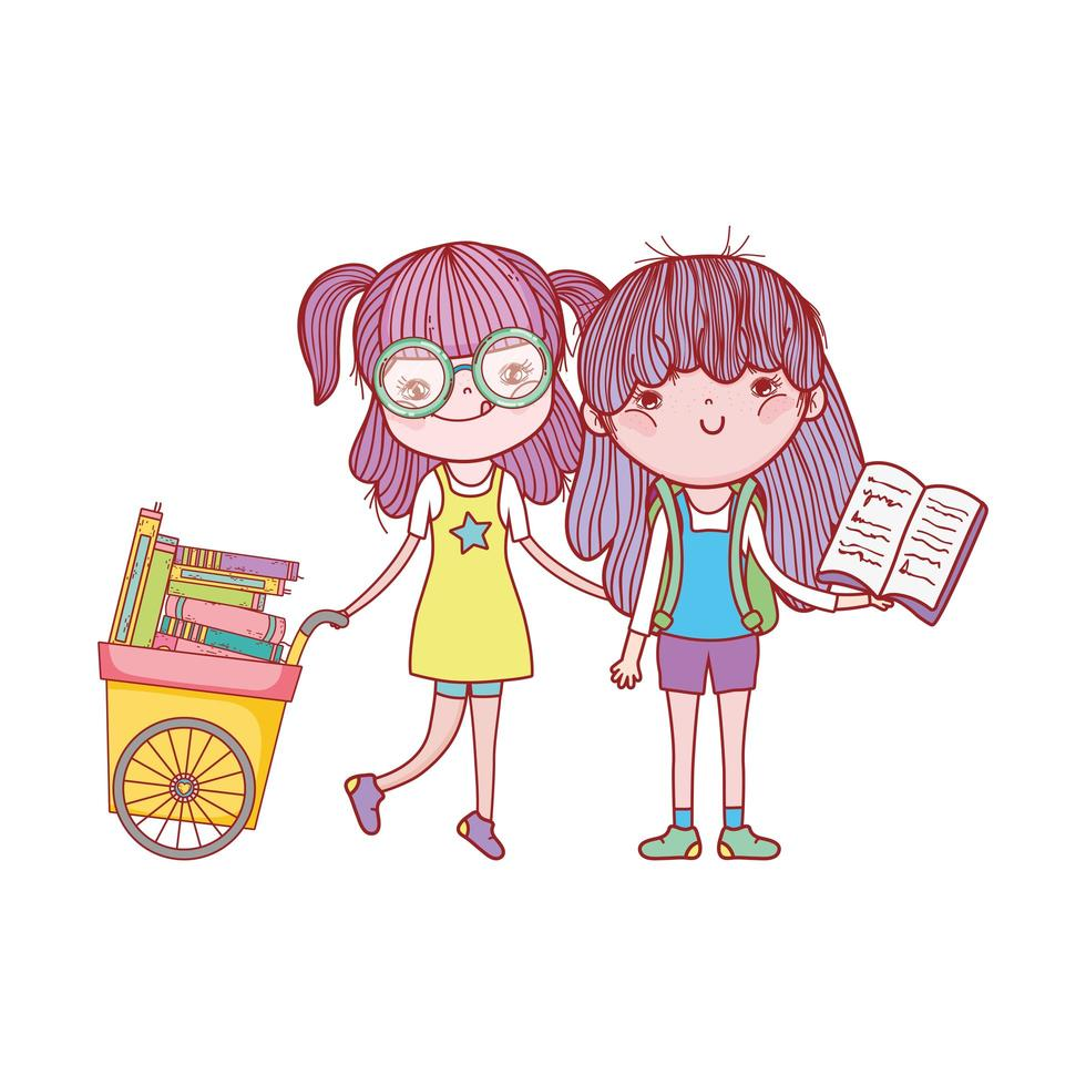 ragazza carina con gli occhiali carrello con libri e ragazza con libro aperto vettore