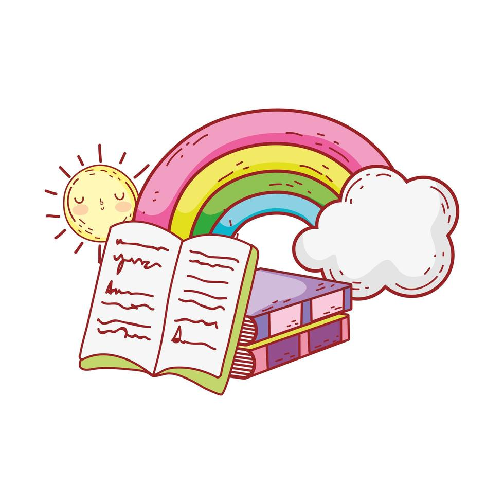 libro aperto libri impilati arcobaleno nuvole sole cartone animato vettore
