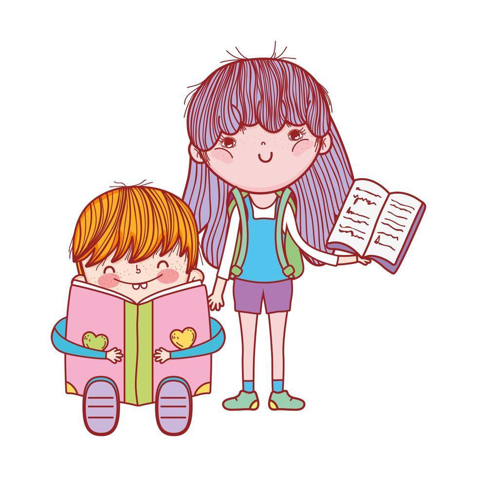 carino ragazzino seduto leggendo un libro e una ragazza con il libro aperto vettore