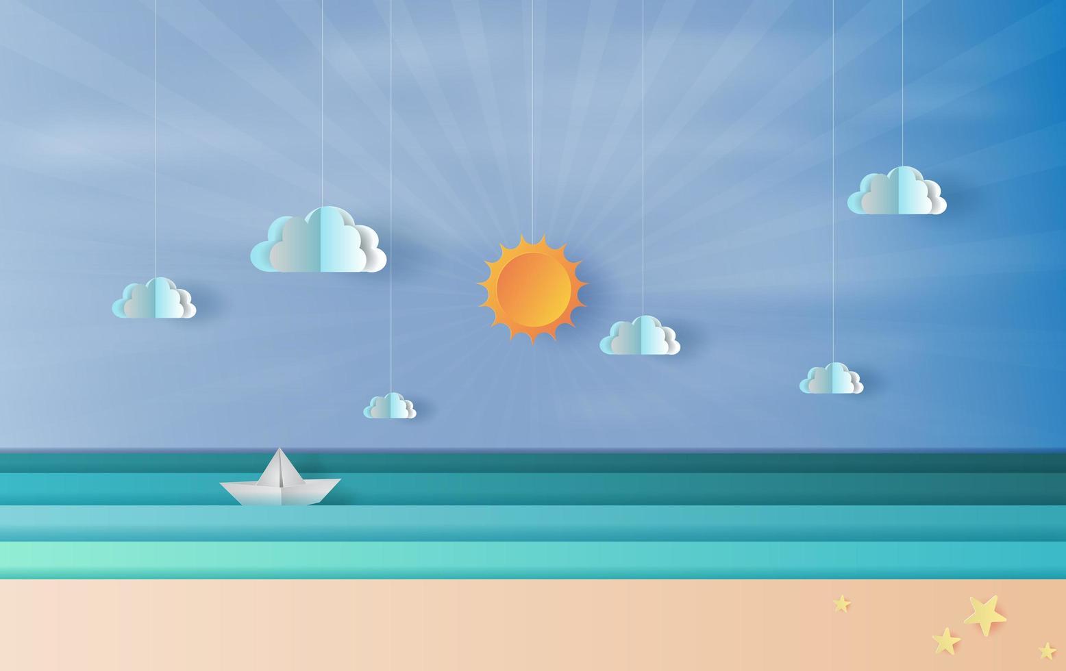 sfondo di banner orizzonte spiaggia stile arte e artigianato di carta vettore