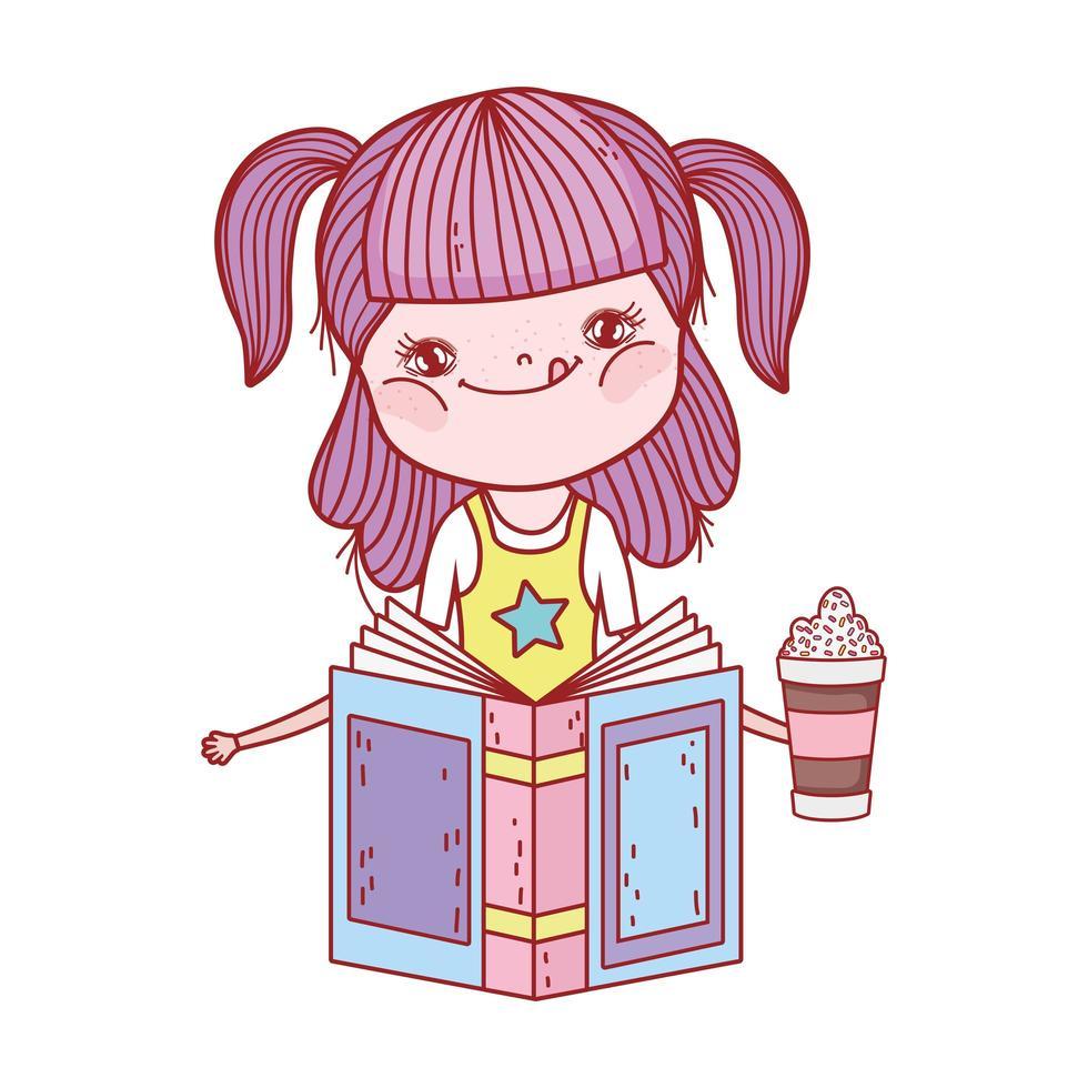 bambina che legge libri di letteratura con frape in mano cartone animato vettore