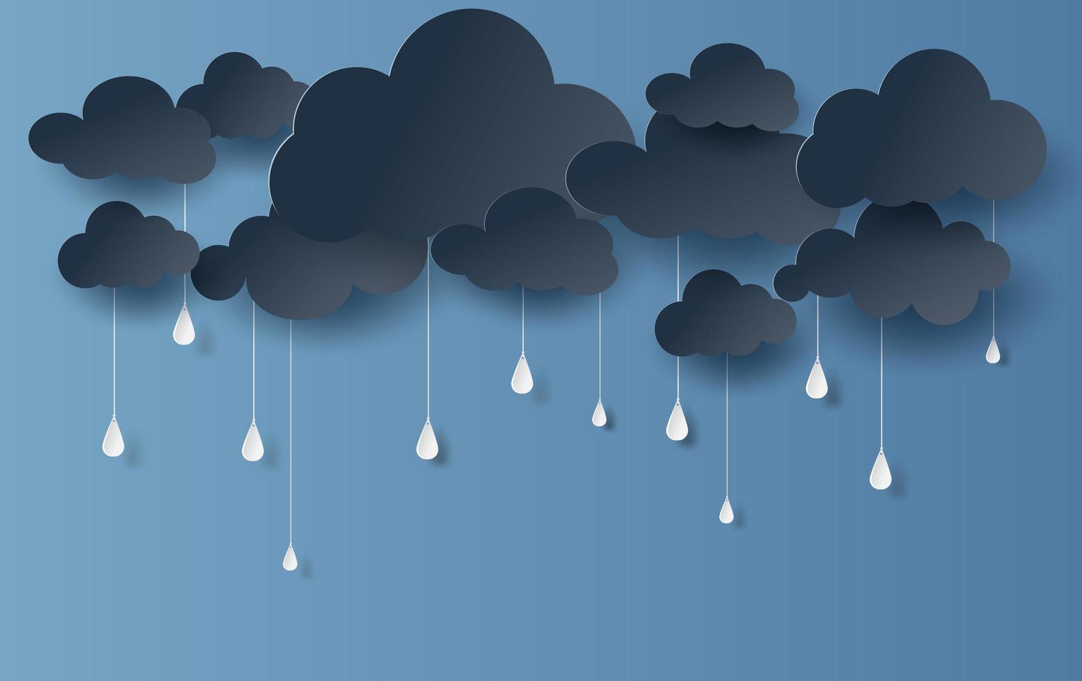 nuvole di arte di carta e stile artigianale e sfondo di banner di pioggia vettore